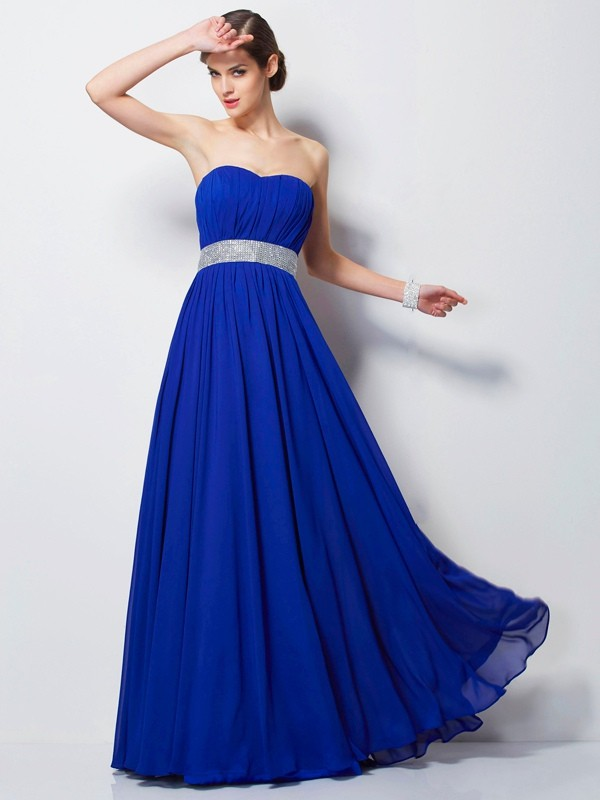Empire Sweetheart Sleeveless Beading Long Chiffon Dresses