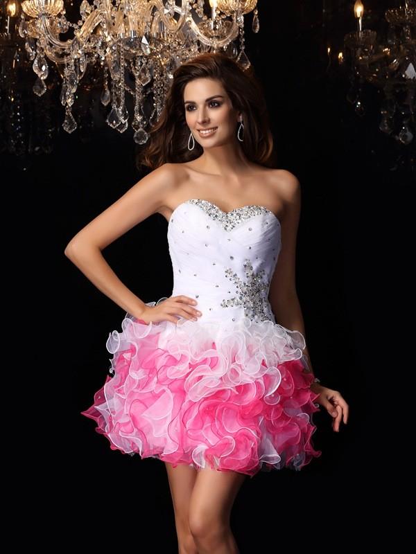 A-Line/Princess Sweetheart Ruffles Sleeveless Short Organza Cocktail Dresses
