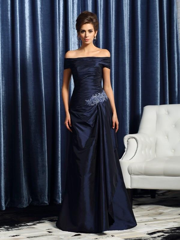 Trumpet/Mermaid Off-the-Shoulder Short Sleeves Long Taffeta Mother of the Bride Dresses