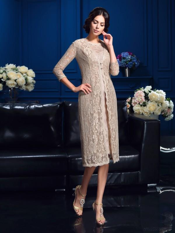 Sheath/Column Scoop Lace Sleeveless Short Taffeta Mother of the Bride Dresses