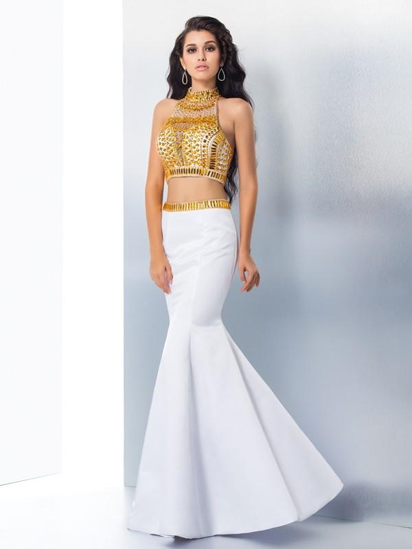 Trumpet/Mermaid High Neck Beading Sleeveless Long Satin Dresses