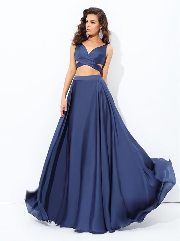 A-line/Princess Straps Sleeveless Long Satin Chiffon Two Piece Dresses
