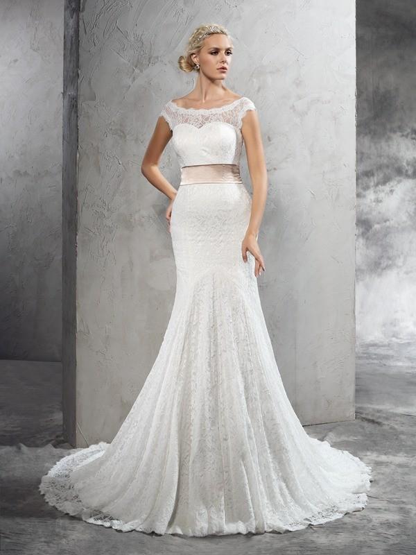 Sheath/Column Sheer Neck Sash/Ribbon/Belt Sleeveless Long Lace Wedding Dresses