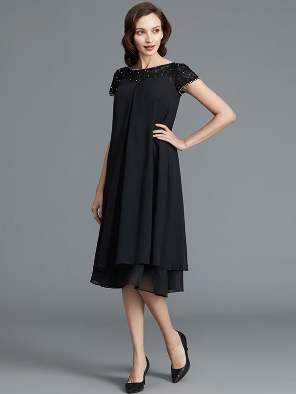A-Line/Princess Sleeveless Scoop Knee-Length Chiffon Mother of the Bride Dresses
