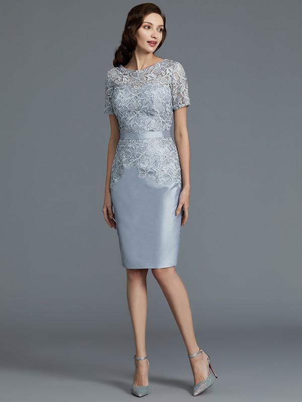 Sheath/Column Scoop Short Sleeves Knee-Length Taffeta Mother of the Bride Dresses