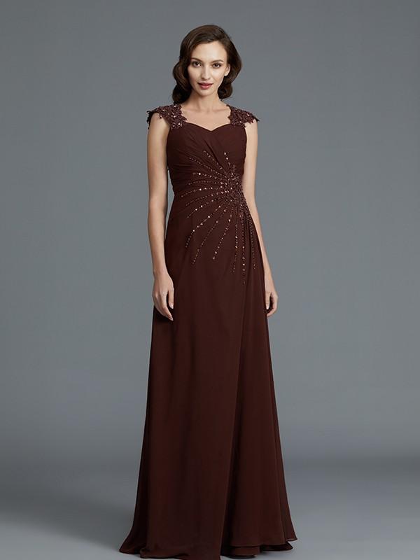 A-Line/Princess Sweetheart Sleeveless Chiffon Floor-Length Beading Mother of the Bride Dresses