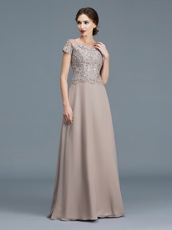 A-Line/Princess Scoop Short Sleeves Applique Floor-Length Chiffon Mother of the Bride Dresses