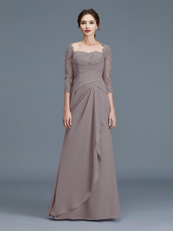 Sheath/Column 3/4 Sleeves Sweetheart Ruffles Chiffon Floor-Length Mother of the Bride Dresses