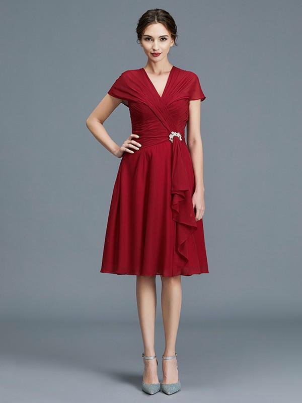 A-Line/Princess V-neck Chiffon Sleeveless Knee-Length Ruffles Mother of the Bride Dresses