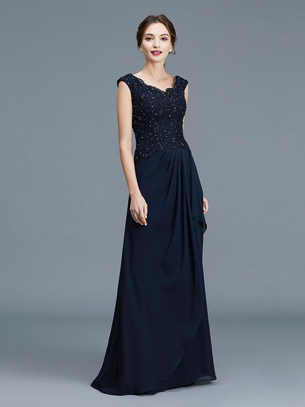 A-Line/Princess V-neck Ruffles Floor-Length Chiffon Sleeveless Mother of the Bride Dresses