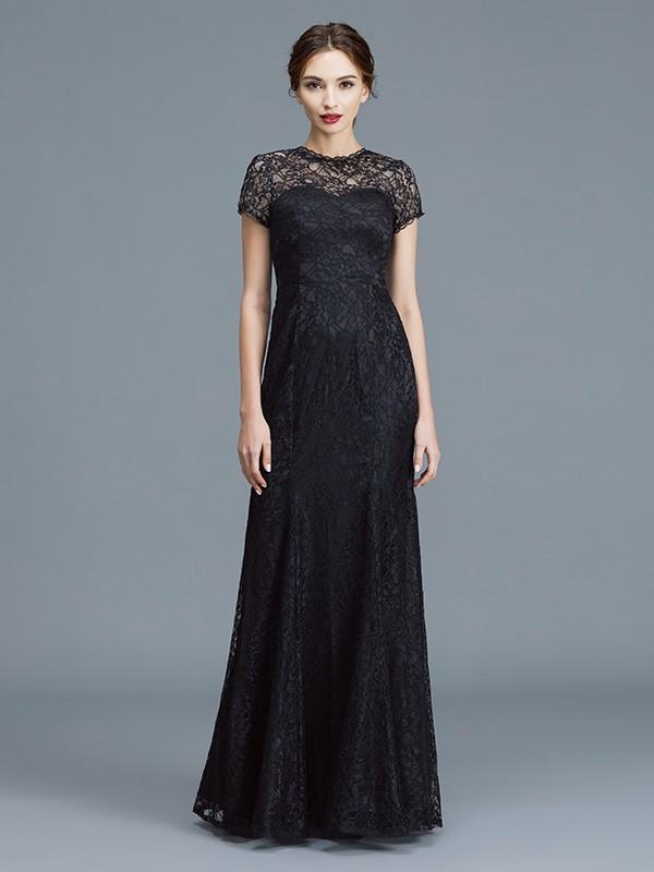 Trumpet/Mermaid Scoop Short Sleeves Lace Floor-Length Mother of the Bride Dresses