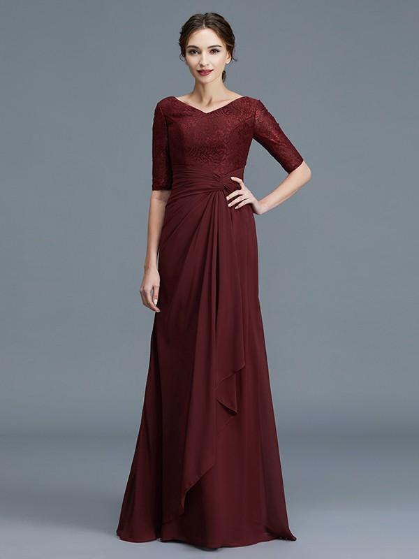 A-Line/Princess V-neck 1/2 Sleeves Ruffles Chiffon Floor-Length Mother of the Bride Dresses