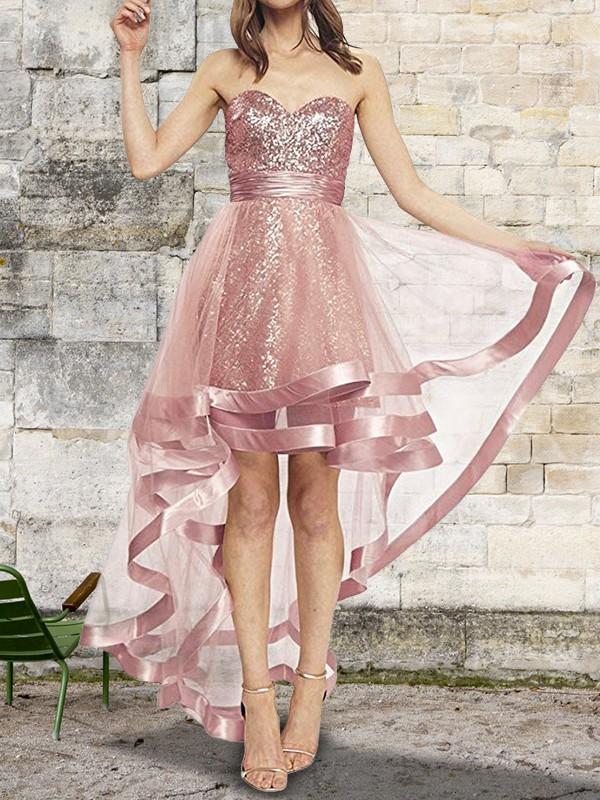 A-Line/Princess Sleeveless Sweetheart Asymmetrical Sequin Organza Dresses