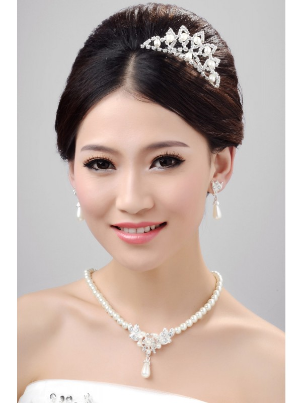 Nice Alloy Clear Crystals Pearl Wedding Headpieces Necklaces Earrings Set