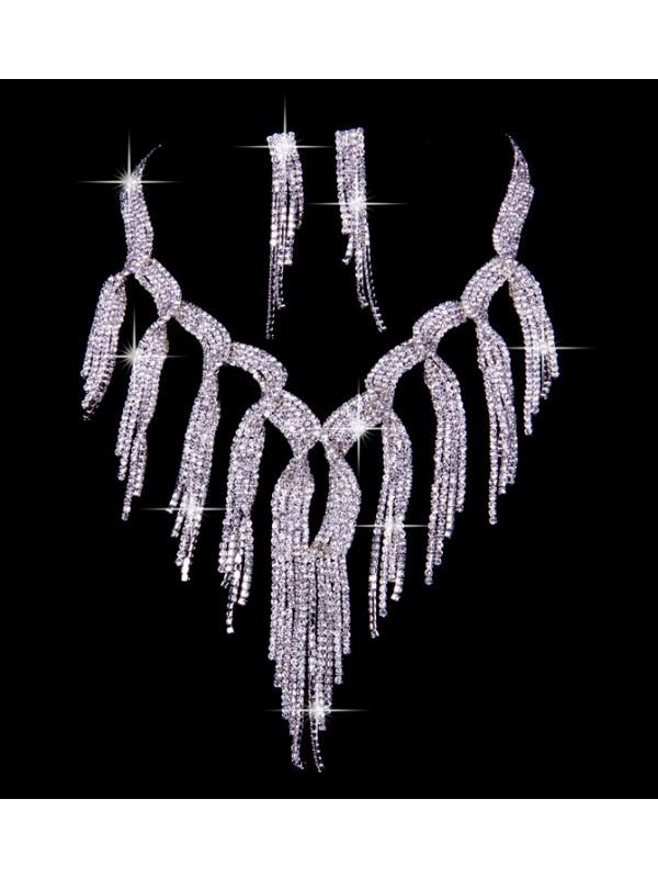 Nice Czech Rhinestones Wedding Necklaces Earrings Set
