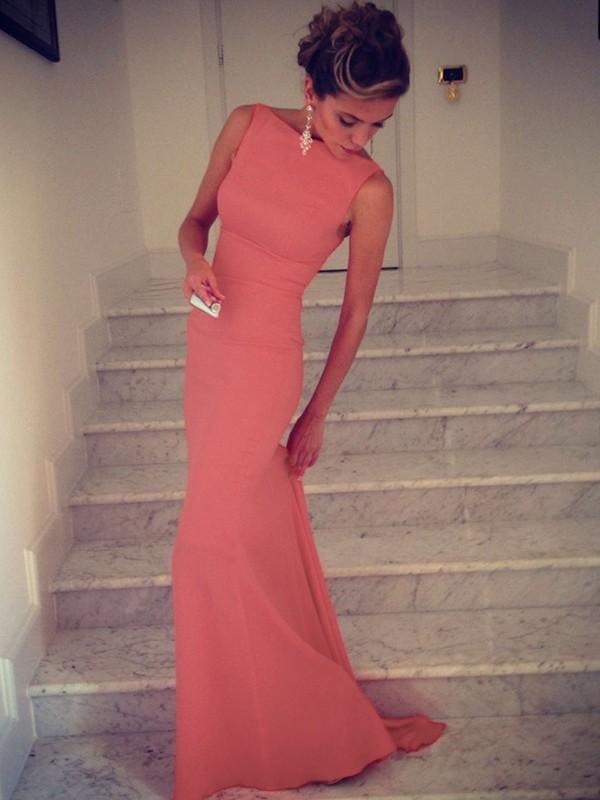 Trumpet/Mermaid High Neck Sleeveless Spandex Floor-Length Dresses