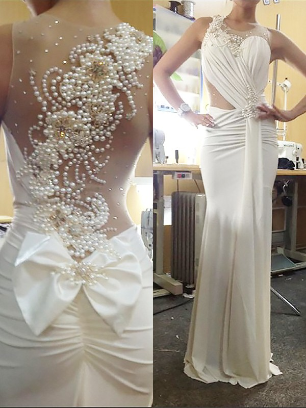Trumpet/Mermaid Sleeveless Scoop Chiffon Pearl Sweep/Brush Train Dresses