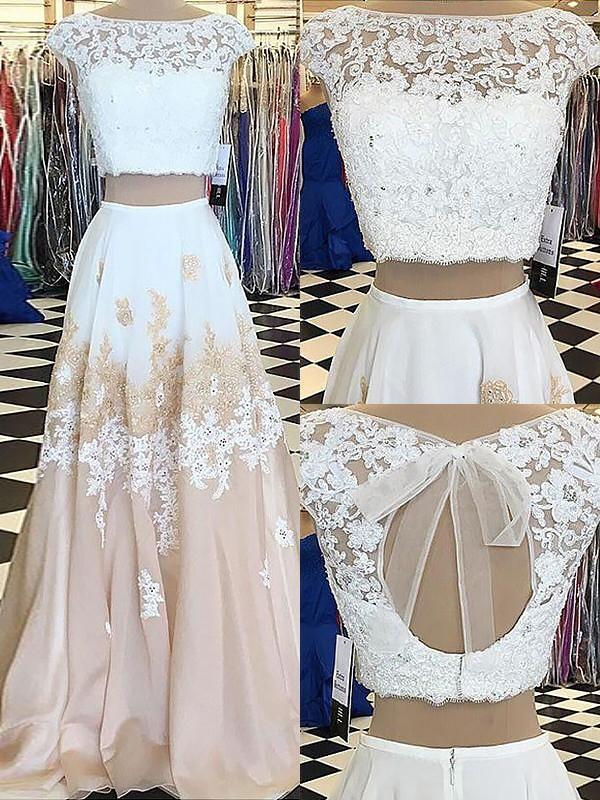 A-Line/Princess Sleeveless Bateau Chiffon Lace Floor-Length Two Piece Dresses