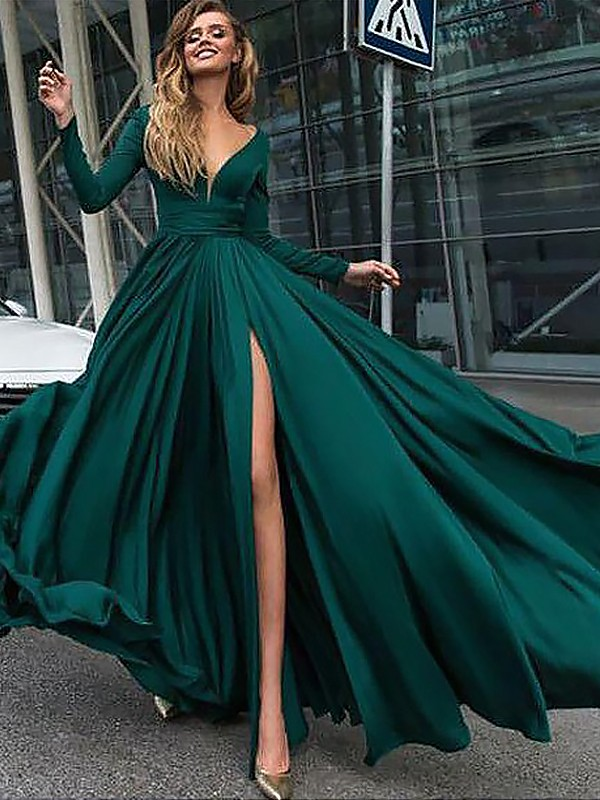 A-Line/Princess V-Neck Long Sleeves Floor-Length Ruffles Satin Chiffon Dresses