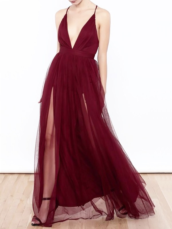 A-Line/Princess V-neck  Floor-Length Ruffles Tulle Dresses