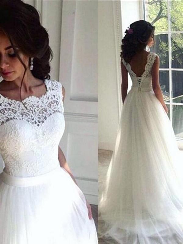 A-Line/Princess Lace Sash/Ribbon/Belt Tulle Bateau Sleeveless Sweep/Brush Train Wedding Dresses