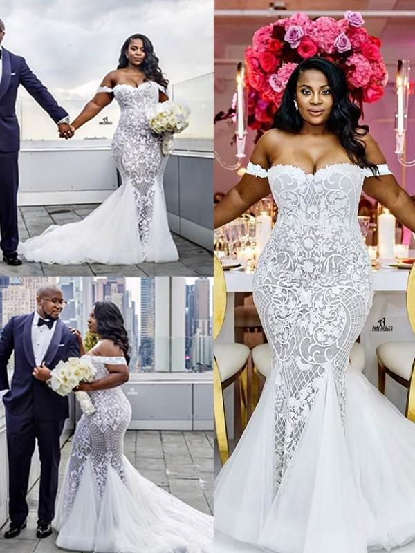 Trumpet/Mermaid Off-the-Shoulder Sleeveless Tulle Ruffles Court Train Wedding Dresses