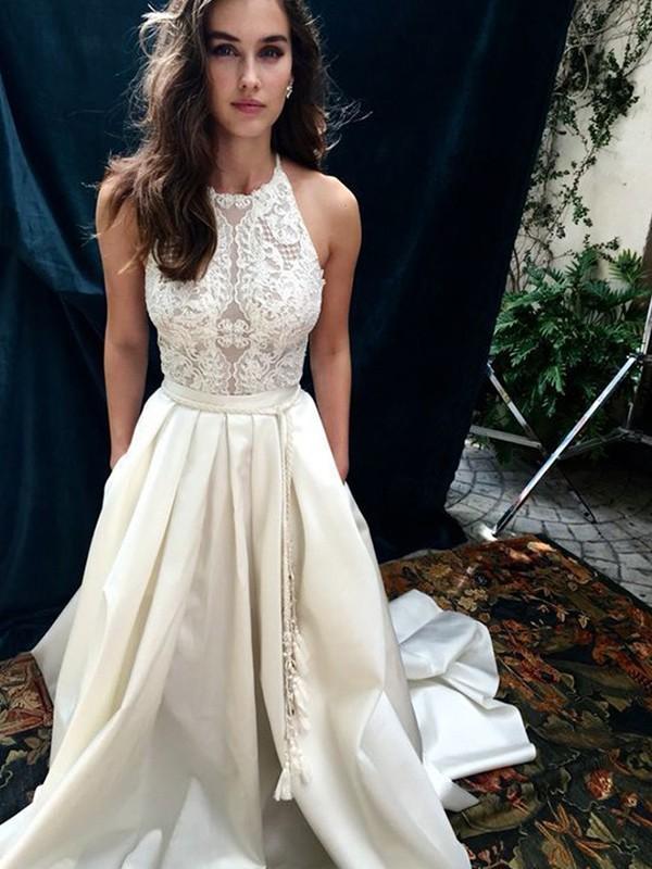A-Line/Princess Satin Lace Halter Sleeveless Chapel Train Wedding Dresses