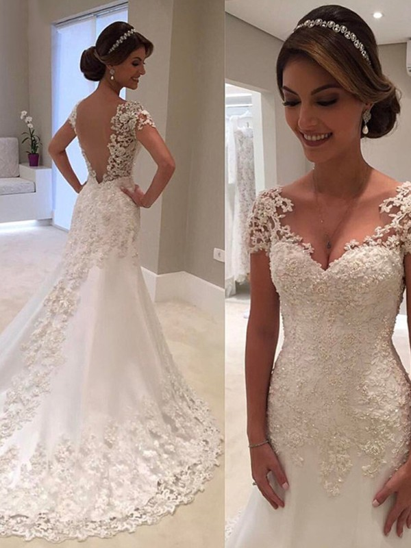 Trumpet/Mermaid Short Sleeves Sweetheart Sweep/Brush Train Lace Wedding Dresses