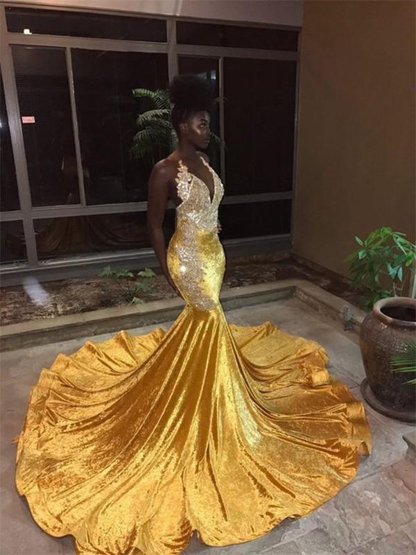 Trumpet/Mermaid Sleeveless V-neck Court Train Lace Velvet Dresses