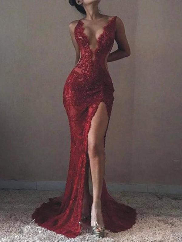 Trumpet/Mermaid Sleeveless V-neck Sweep/Brush Train Lace Tulle Dresses