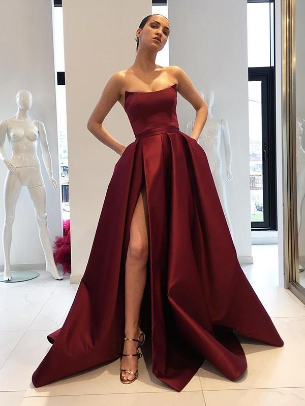 Ball Gown Sleeveless Strapless Sweep/Brush Train Ruffles Satin Dresses