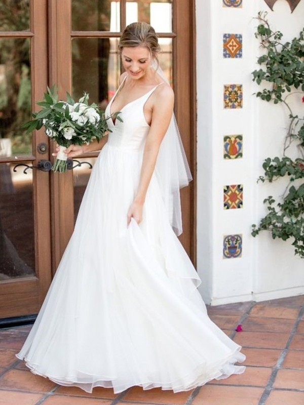 A-Line/Princess V-neck Sleeveless Sweep/Brush Train Ruffles Tulle Wedding Dresses
