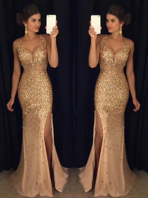 Sheath/Column V-neck Sequin Court Train Sleeveless Jersey Dresses
