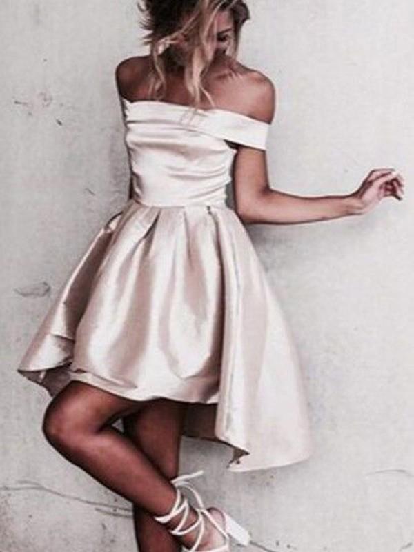 A-Line/Princess Sleeveless Off-the-Shoulder Satin Short/Mini Dresses