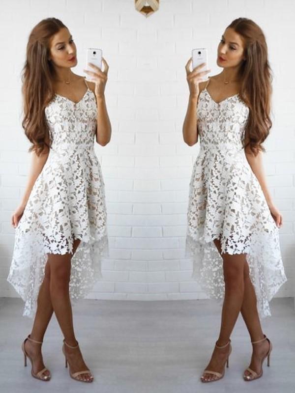 A-Line/Princess Sleeveless Spaghetti Straps Lace Short/Mini Dresses
