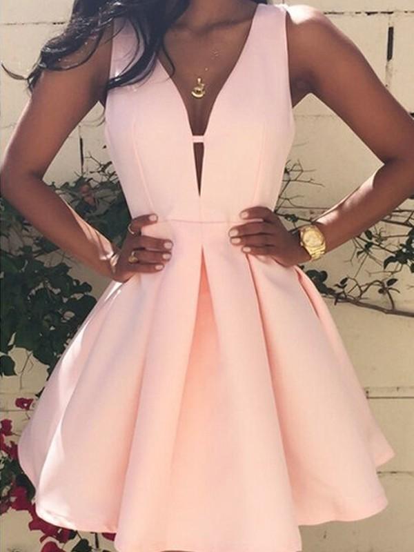 A-Line/Princess Sleeveless V-neck Short/Mini Satin Dresses
