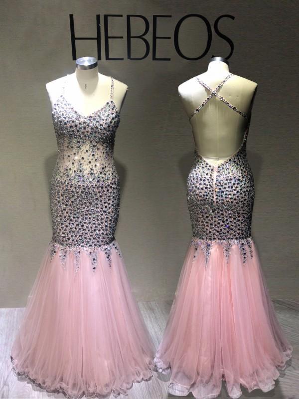 Trumpet/Mermaid Sleeveless V-neck Tulle Sequin Floor-Length Dresses