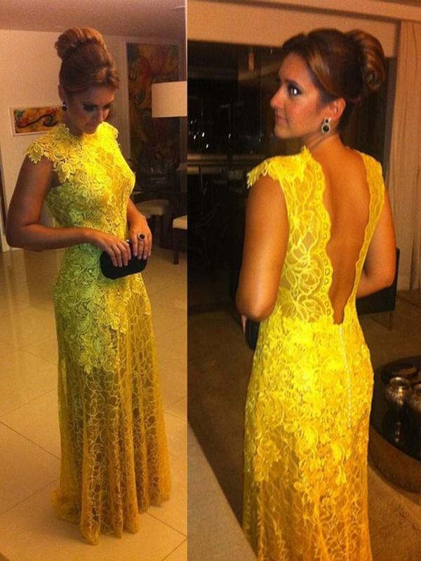 A-Line/Princess Short Sleeves Lace High Neck Floor-Length Dresses
