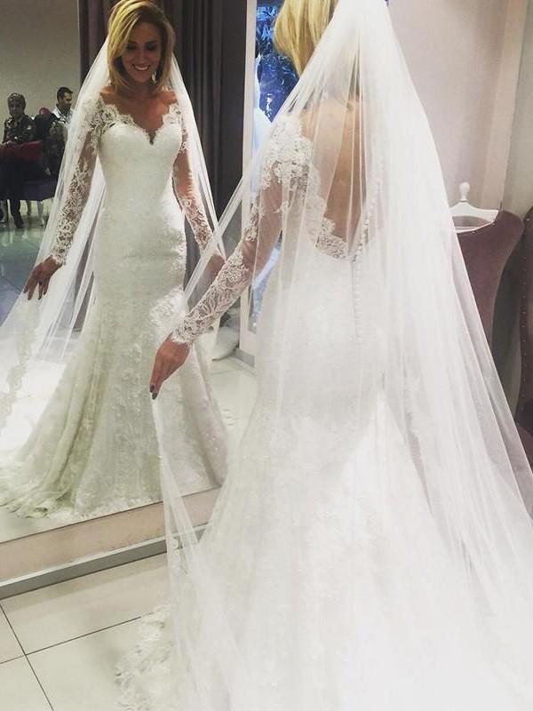 Sheath/Column V-neck Long Sleeves Sweep/Brush Train Lace Wedding Dresses