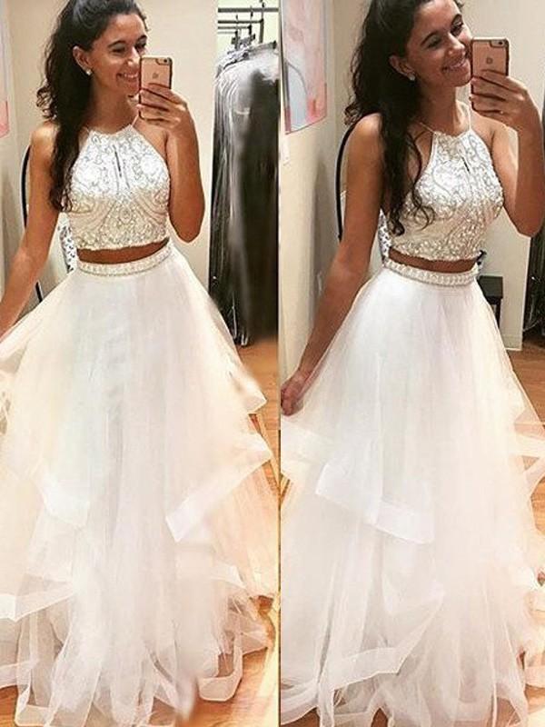 A-Line/Princess Sleeveless Halter Floor-Length Beading Tulle Dresses