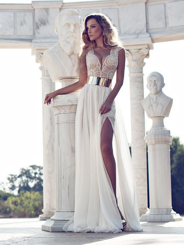 A-Line/Princess V-neck Short Sleeves Lace Floor-Length Chiffon Dresses