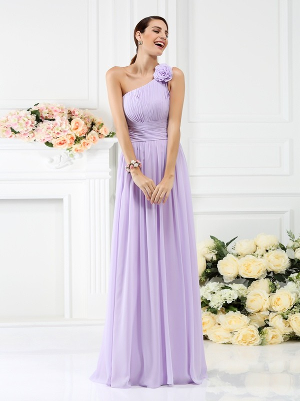 d29489efb8d76 A-Line/Princess One-Shoulder Pleats Hand-Made Flower Sleeveless Long ...