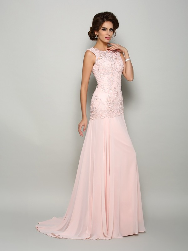 29714896d4 Trumpet Mermaid Scoop Beading Sleeveless Long Chiffon Mother of the Bride  Dresses