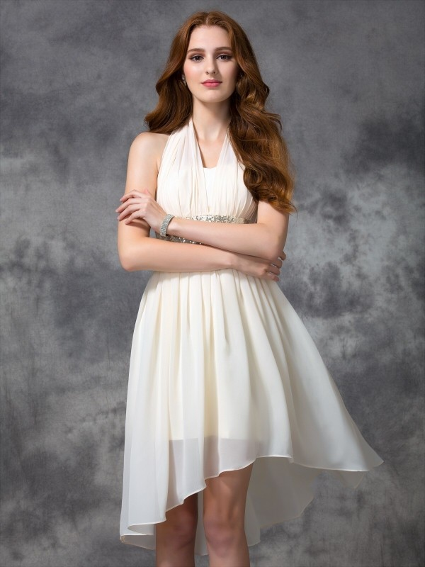 f1458c4456d0 A-line/Princess Halter Sequin Sleeveless High Low Chiffon Cocktail Dresses  - Hebeos Canada
