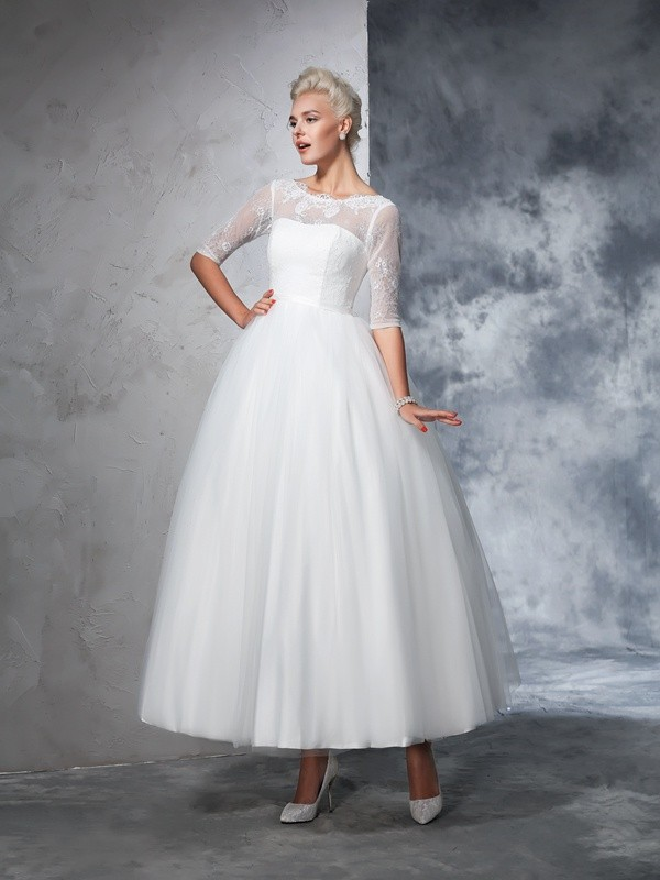 29aeed3e594d Ball Gown Bateau Lace 1/2 Sleeves Long Net Wedding Dresses - Hebeos ...