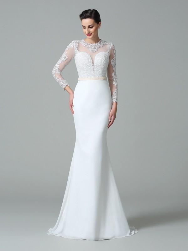 5df25802a36a Trumpet Mermaid Jewel Lace Long Sleeves Long Satin Wedding Dresses ...