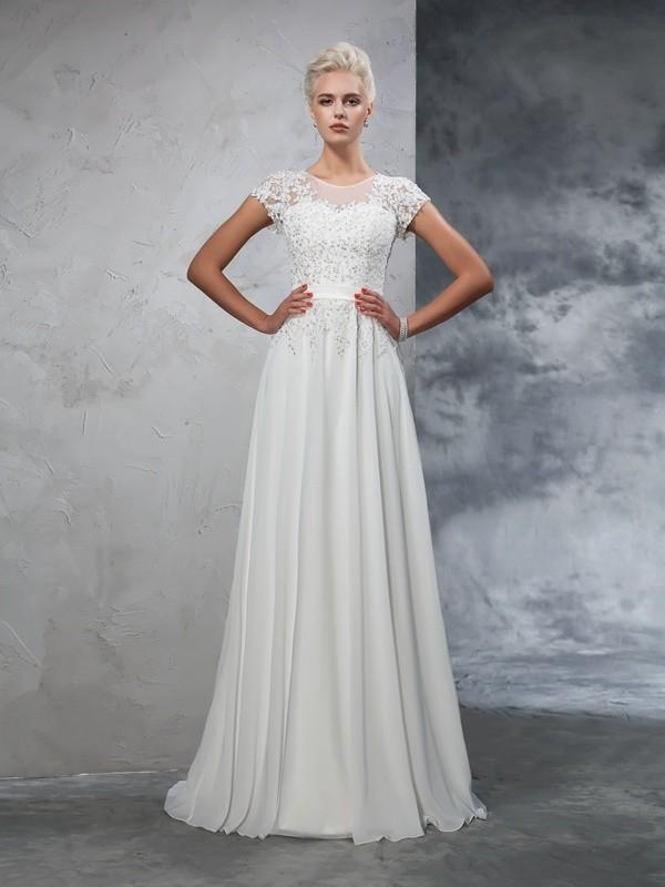 796f46593105 A-Line/Princess Sheer Neck Applique Short Sleeves Long Chiffon Wedding  Dresses