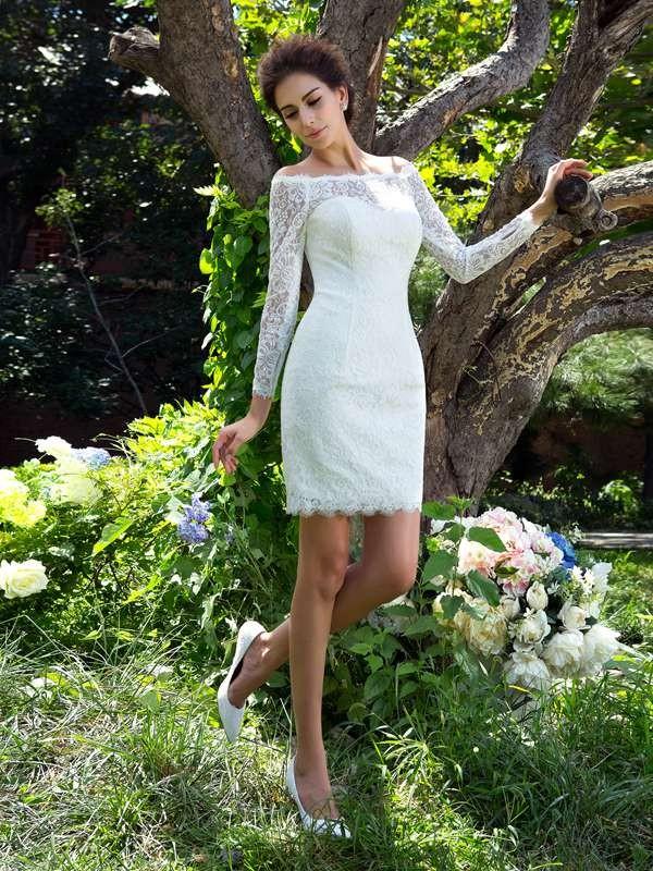 ecfe2f089fc5 Sheath/Column Scoop Long Sleeves Short Satin Wedding Dresses ...