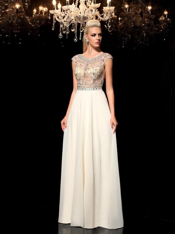 fe9f56a81b68 A-Line/Princess Sheer Neck Rhinestone Sleeveless Long Chiffon Dresses
