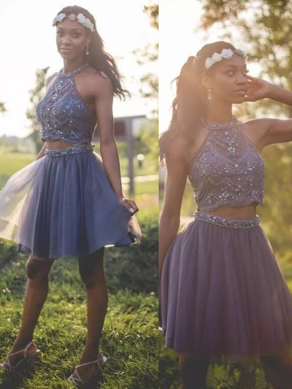 f92dc5b3d6e A-Line Halter Cut Short With Beading Tulle Silver Homecoming Dresses
